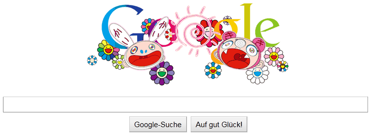 Wie ihr bestimmt schon gemerkt habt, befindet sich auf der heutigen Google Startseite, ein Bild welches passend zur Sommersonnenwende erstellt wurde, und von keinen anderen als Takashi Murakami gezeichnet worden ist.